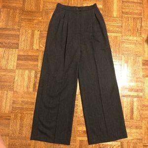 CHANEL Vintage Wide Leg Grey Pleated Wool Trousers